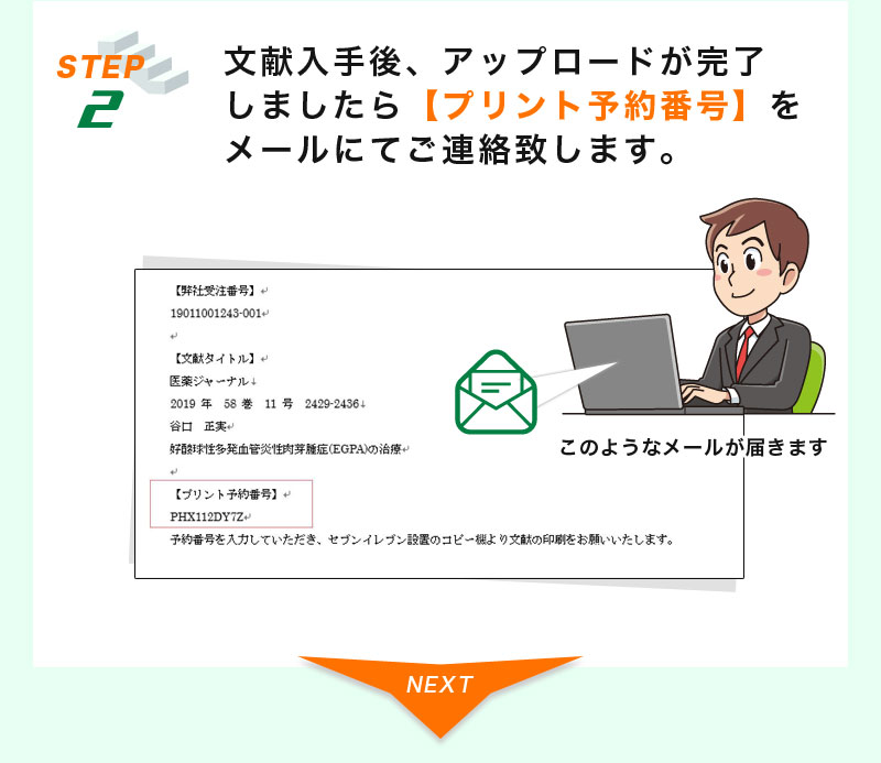 STEP2:文献入手後、アップロードが完了しましたら【プリント予約番号】をメールにてご連絡致します。